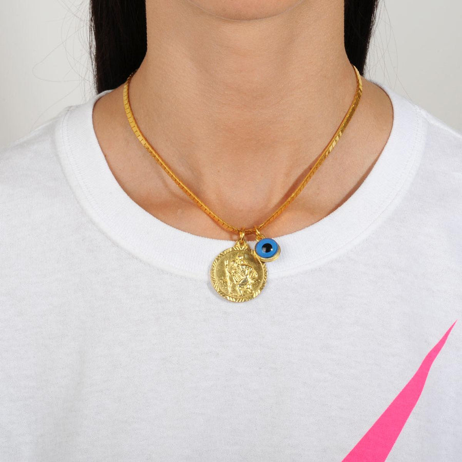 Short gold plated metal necklace with a coin katerina psoma