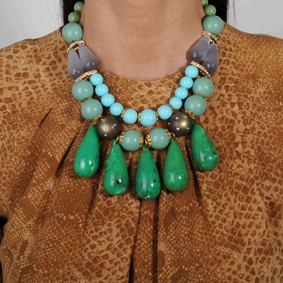 Short turquoise statement necklace katerina psoma
