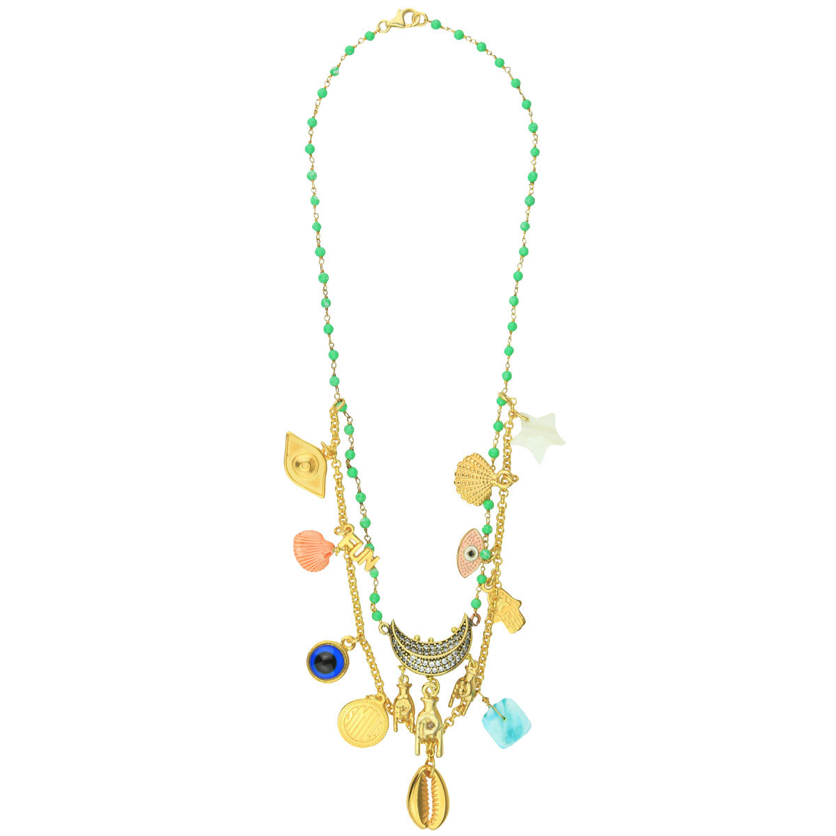 Double row short necklace with charms, shells and stones