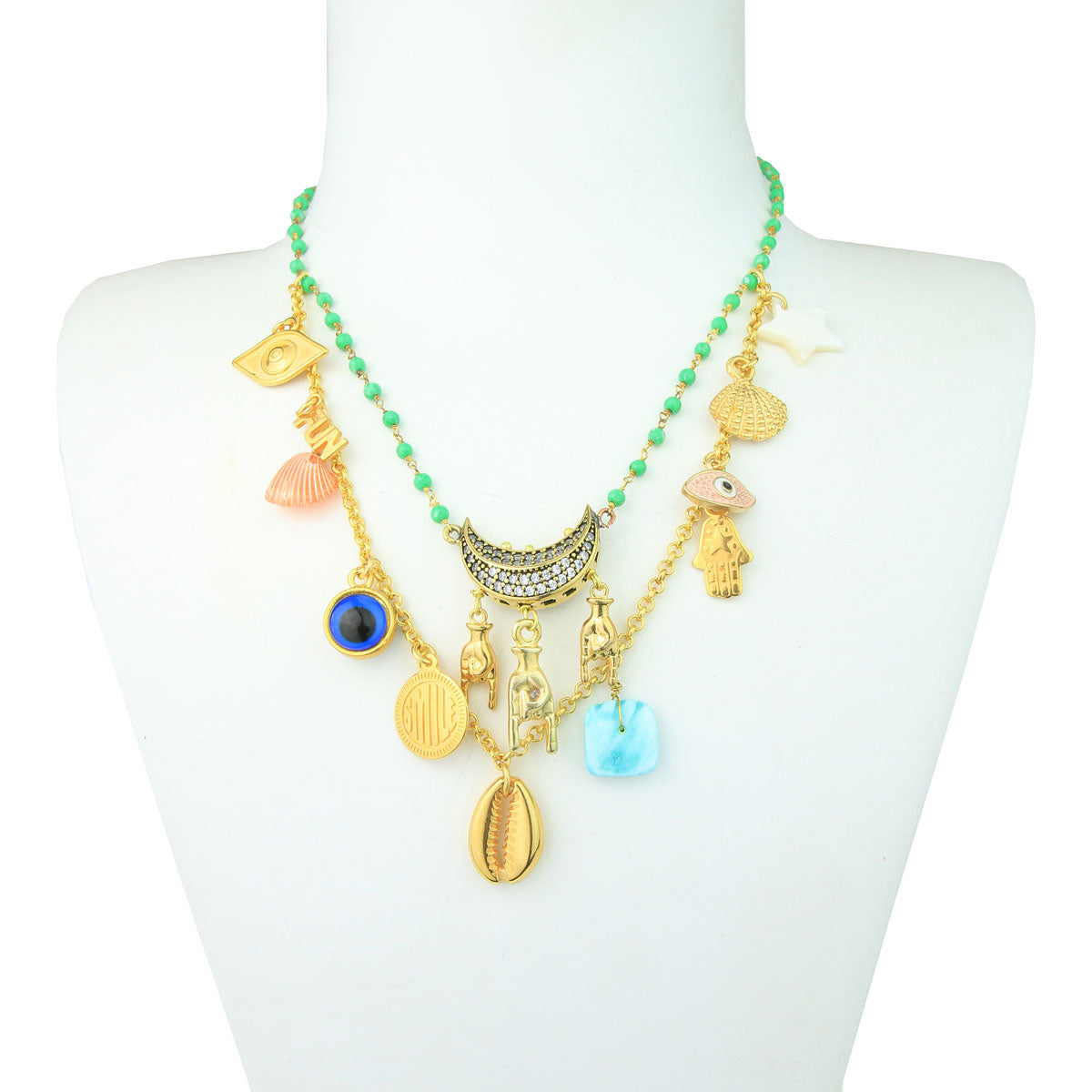 Summer necklace with shells, charms and chrysoprase