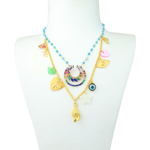 gold plated sterling silver short charm necklace with turquoise and shells