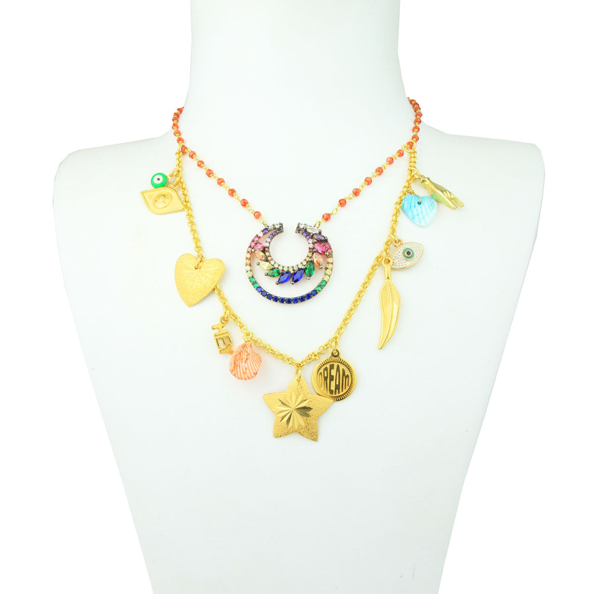 93713af10e6 Lucilla Double Low Short Necklace with Shells, Charms and Zirconia ...