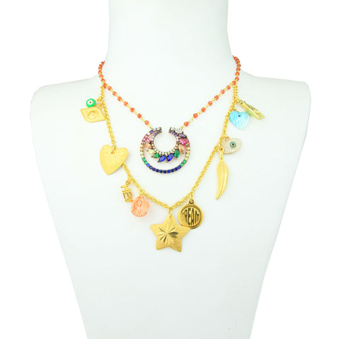 Gold plated sterling silver necklace with boho charms and shells
