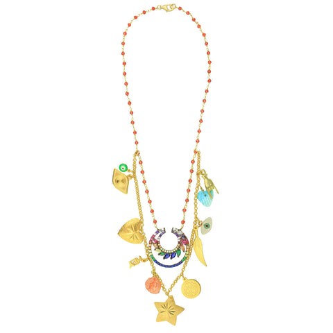6499084930e Lucilla Double Low Short Necklace with Shells, Charms and Zirconia