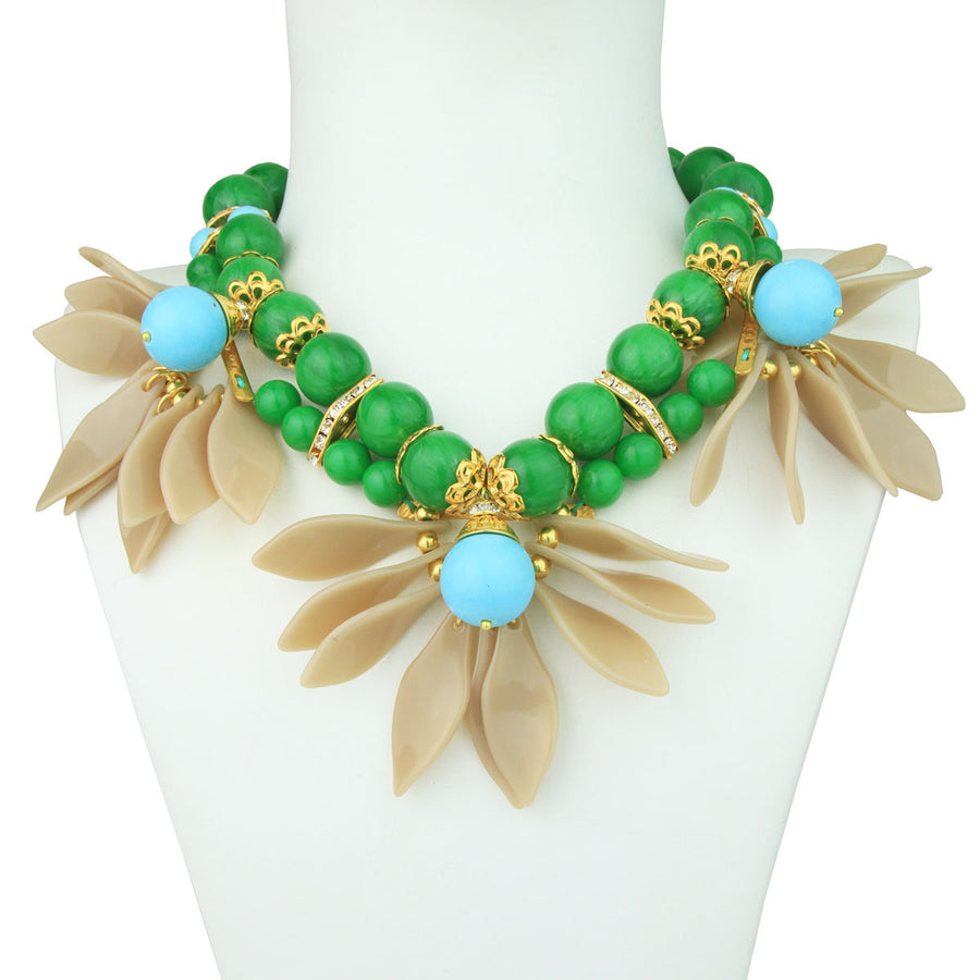 Ida Turquoise and Green Leaf Flower Short Necklace