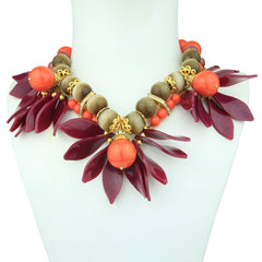 Ida Coral and Purple Leaf Flower Short Necklace
