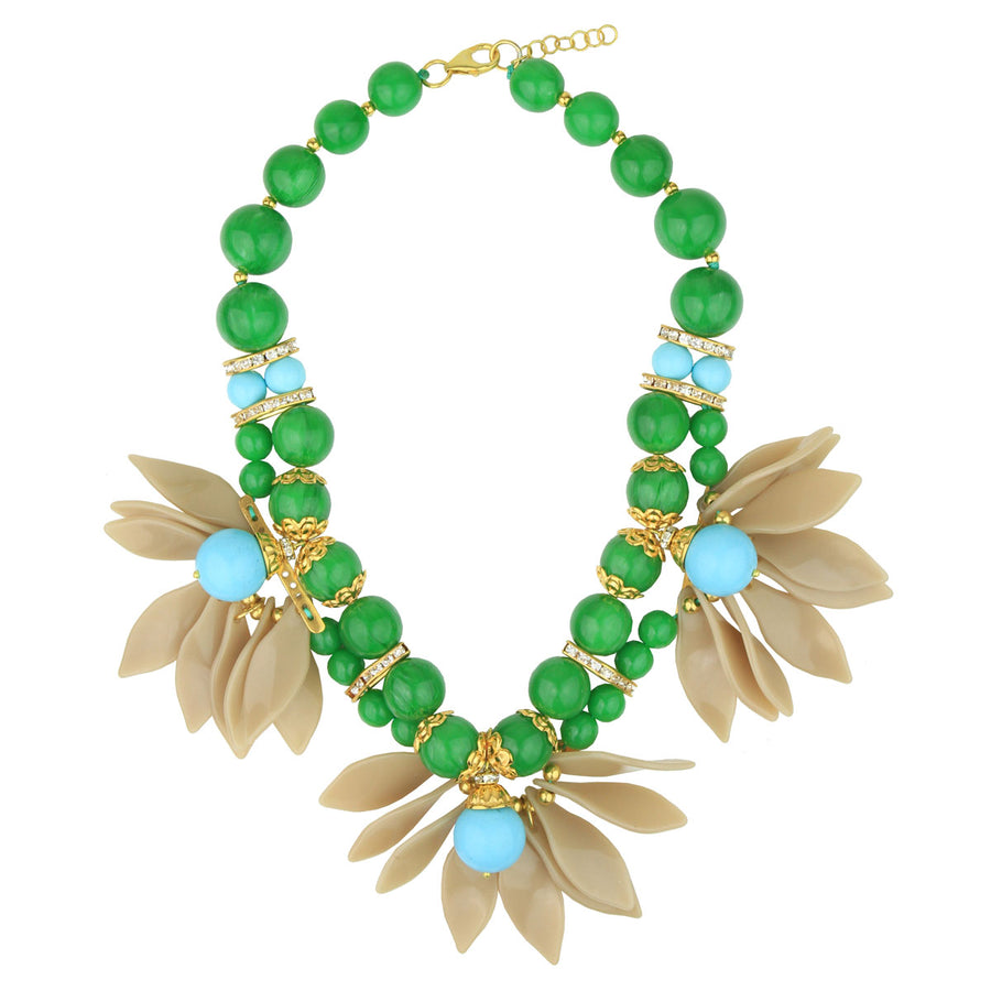 Turquoise and Green Leaf Flower Short Necklace