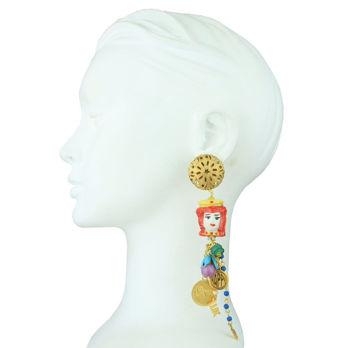 clip dangle earrings with chains, charms and sicilian ceramics