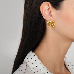 Cyclos Gold Plated Metal Hoop Earrings
