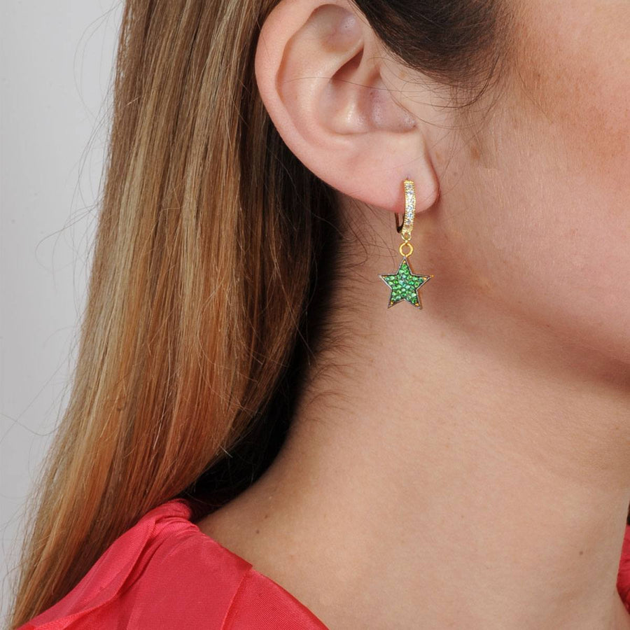 Gold  plated star hoops with crystals green