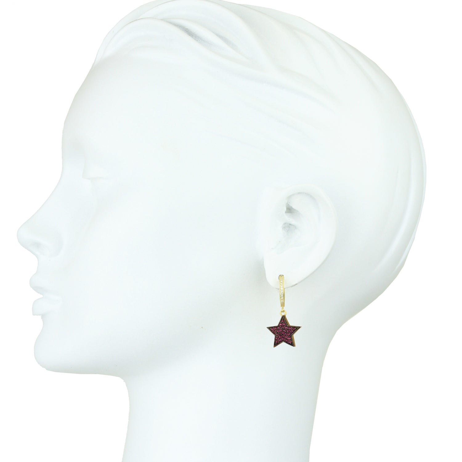 Eugenia Gold Plated 925 Silver Hoops and Crystal Stars