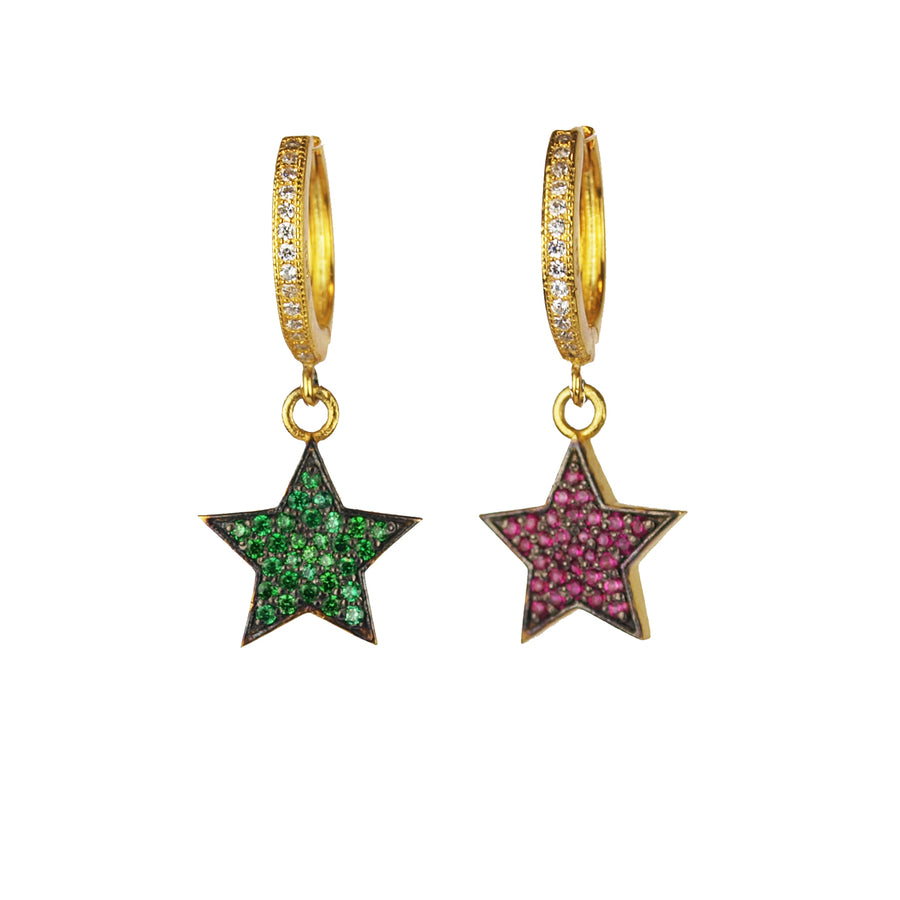 Gold Plated 925 Silver Hoops and Crystal Stars