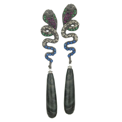Nuwa Black Plated Metal and Snake Earrings with Jasper Drops