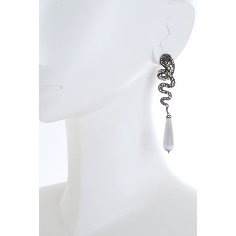 Nuwa Black Plated Metal and Snake Earrings with Faceted Cat's Eye Drops