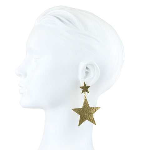 Carina Gold Plated Metal Star Earrings