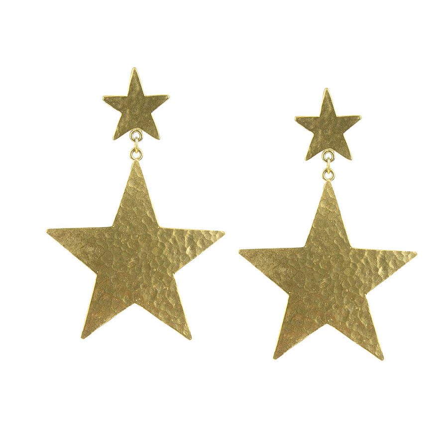 Gold Plated Metal Star Earrings