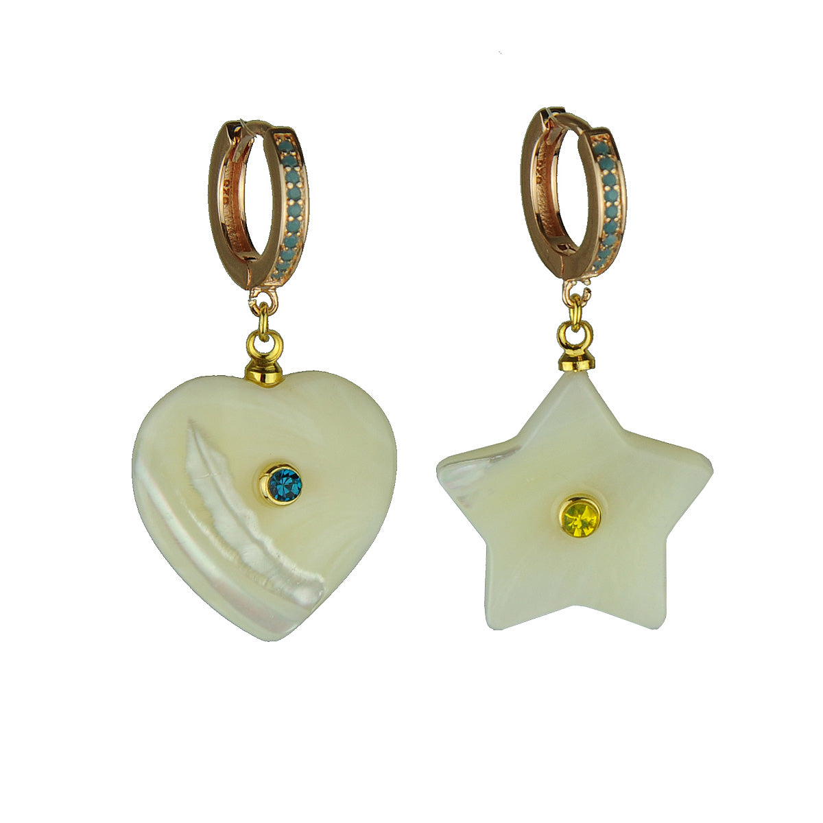 Turquoise Hoops with Mother of Pearl Ornaments katerina psoma