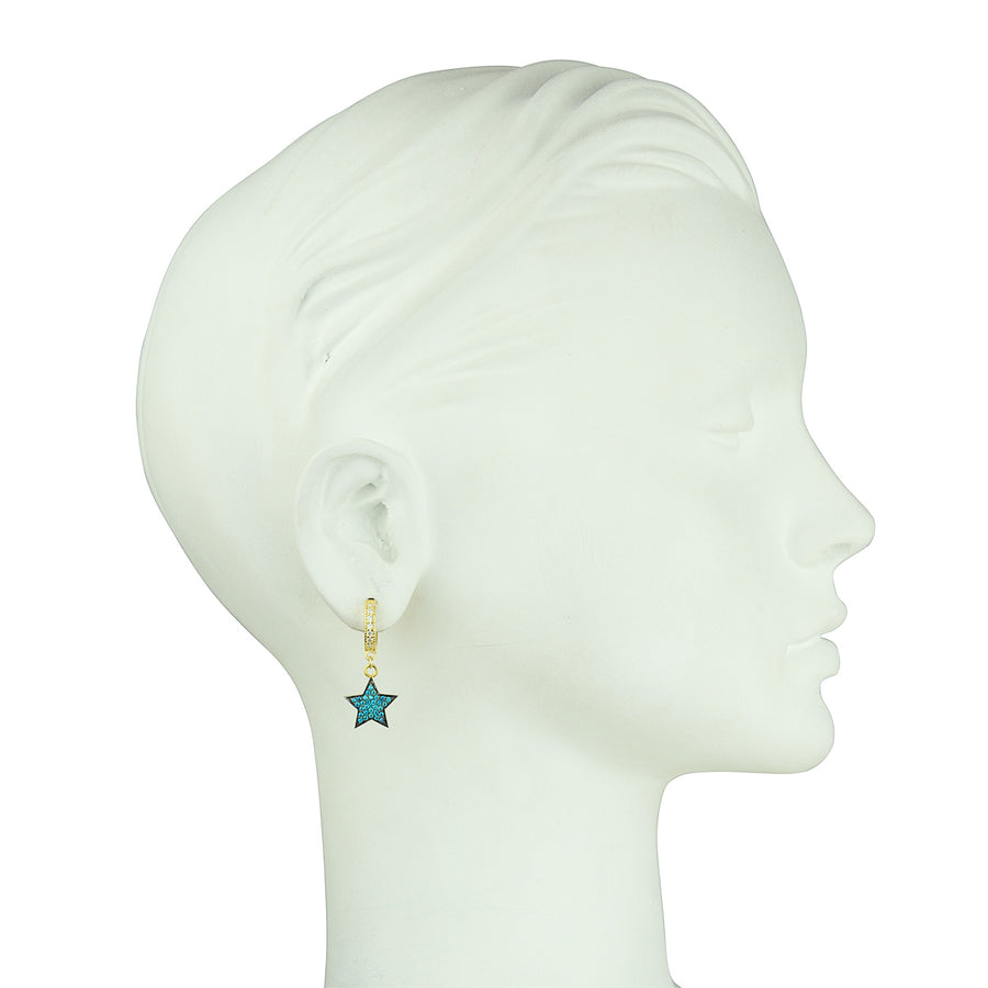 Katerina Psoma Hoops with Blue Crystal Stars gold plated 925 silver