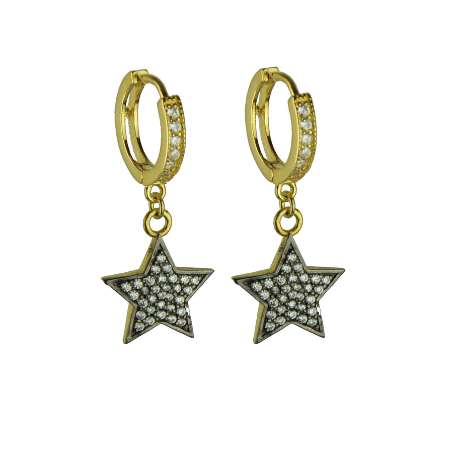 Aylin Hoops with White Crystal Star Dangles
