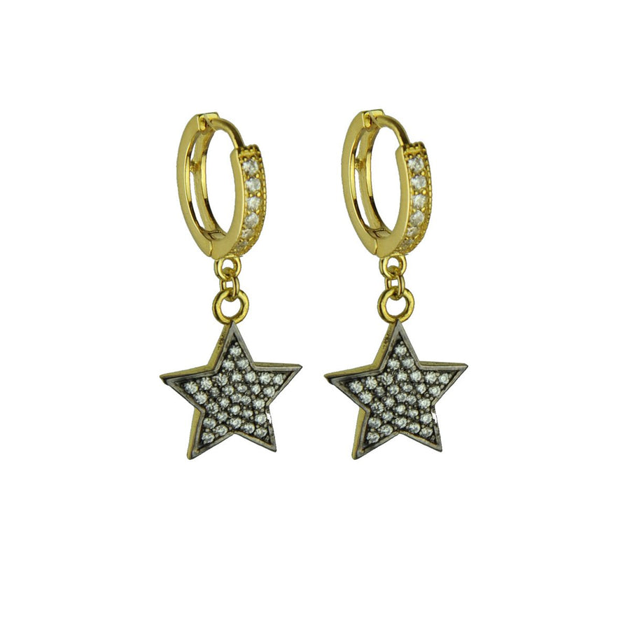 Hoops with White Crystal Star Dangles katerina psoma