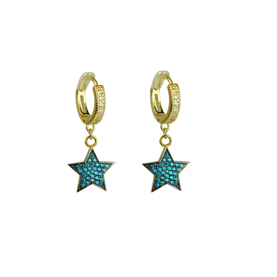Katerina Psoma Hoops with Blue Crystal Stars