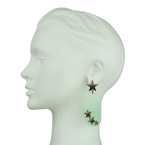 Aurora Yellow Jade and Crystal Star Dangle Earrings