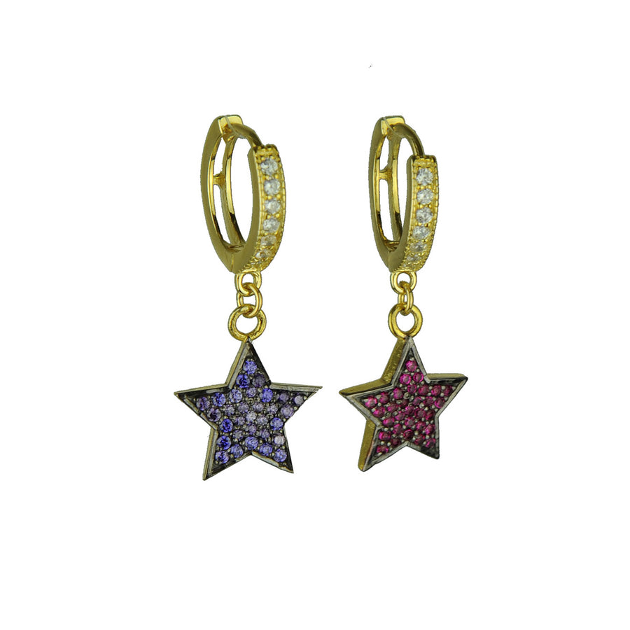 Hoops with Multicolored Crystal Stars katerina psoma