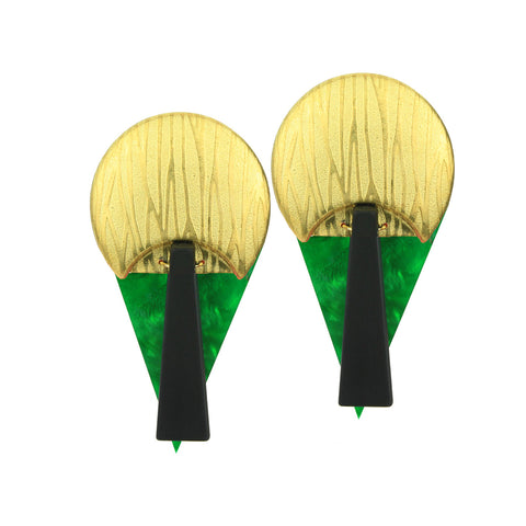 Green Acrylic and Gold Plated Metal Memphis Earrings