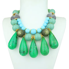 Ida Short Turquoise Necklace with Green Drops