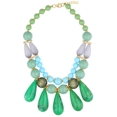 Short Turquoise Necklace with Green Drops