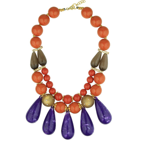 Ida Short Coral Necklace with Purple Drops