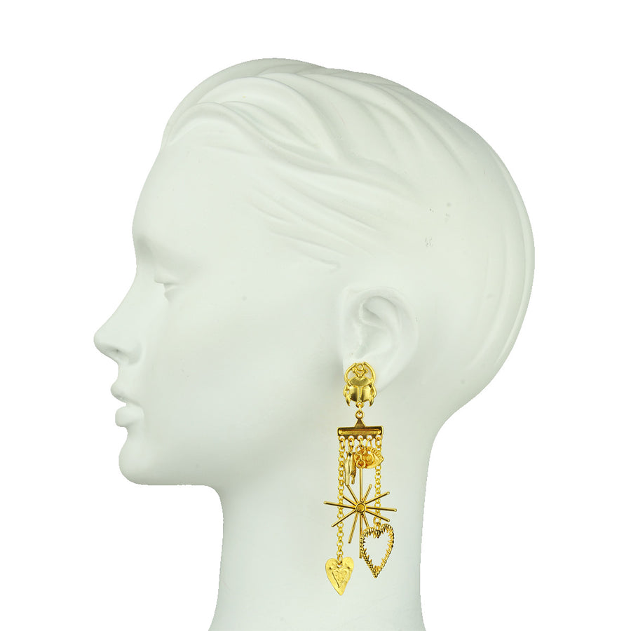 Katerina Psoma metal dangle earrings with charms detail