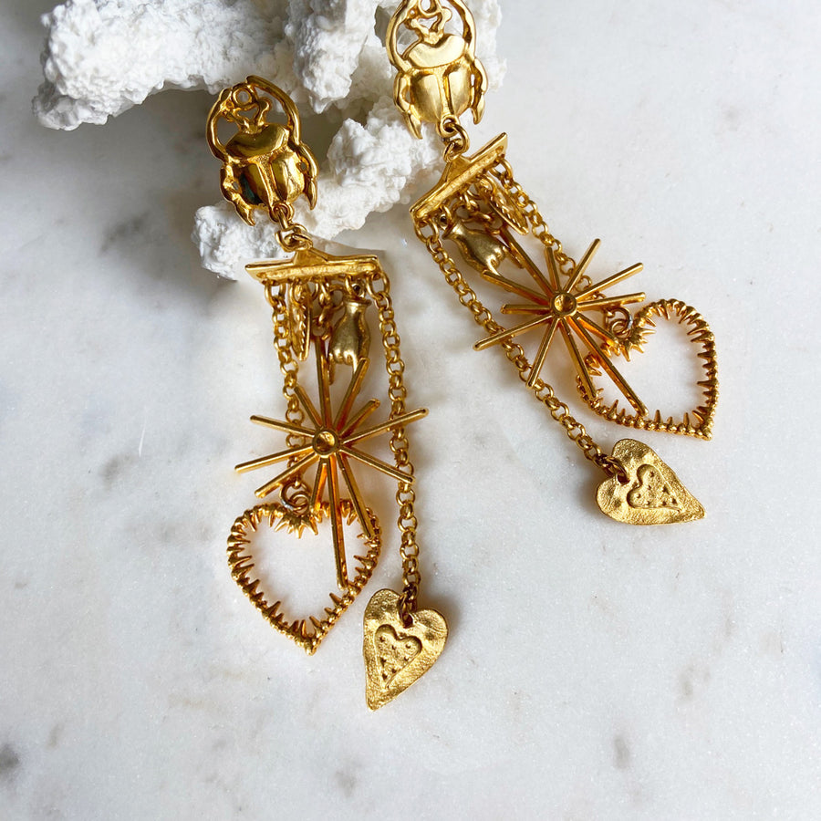 Katerina Psoma Dangle Earrings with Chains and Charms