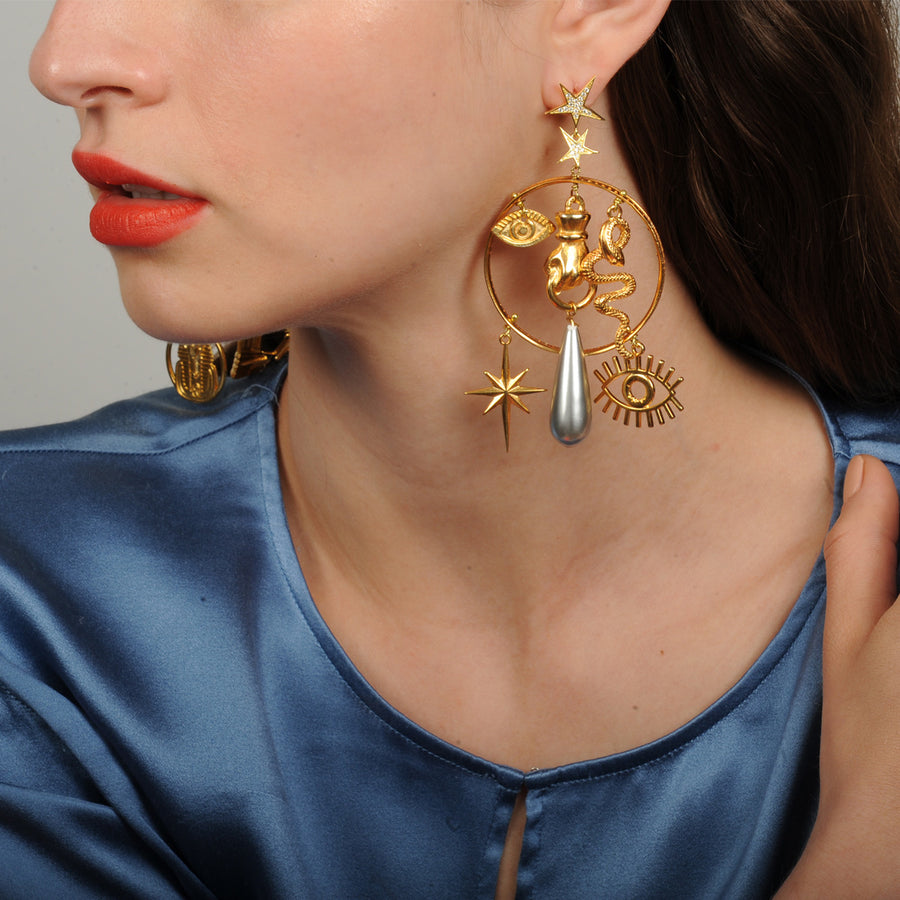 Katerina Psoma Hoops with Charms statement earrings