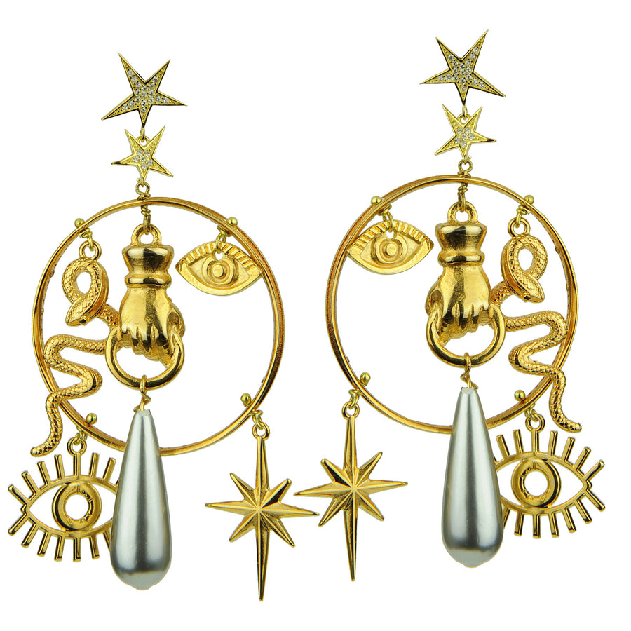 Katerina Psoma Hoops with Charms