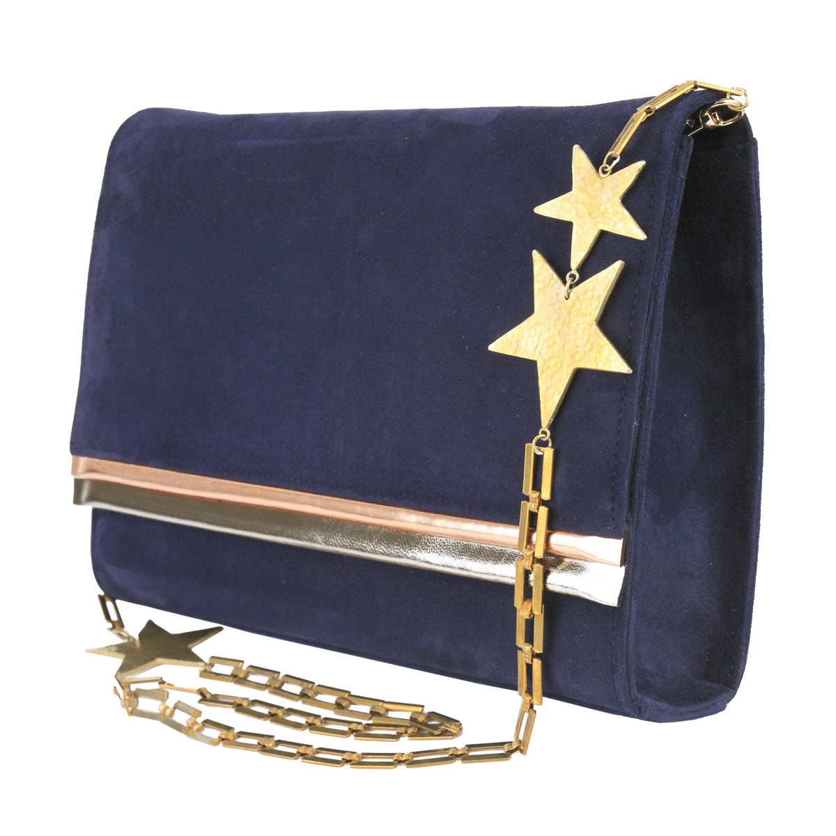 Star Blue Suede Leather Evening Bag