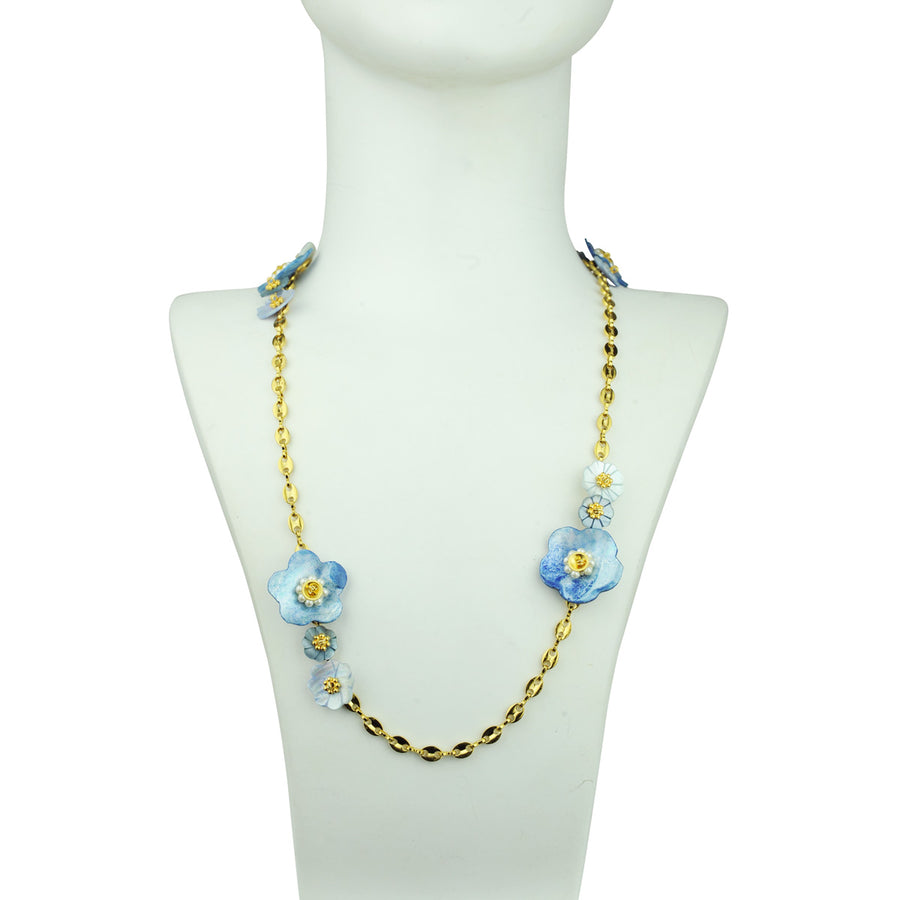 katerina psoma chain necklace with blue mother of pearl