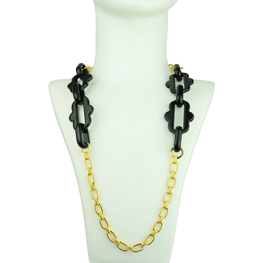 Chain frames with gold plated chain and black acrylic chain katerina psoma close up