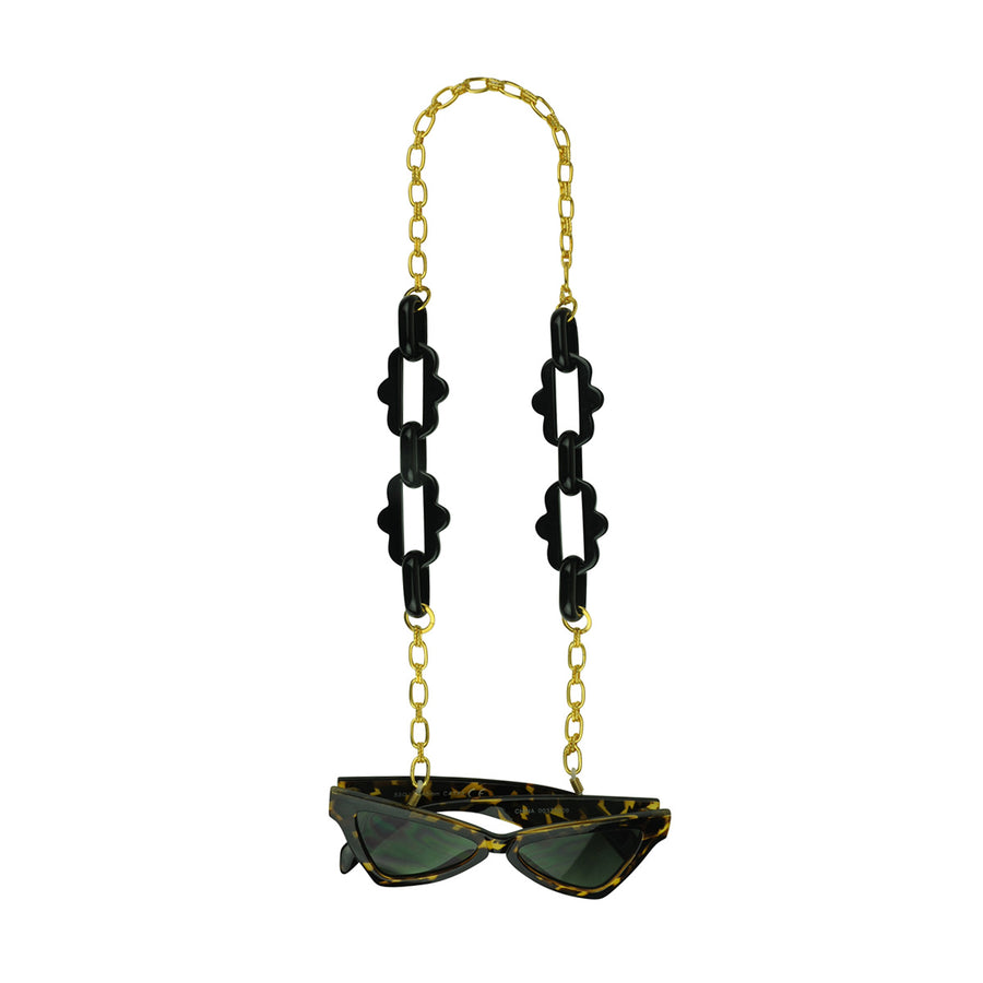 Chain frames with gold plated chain and black acrylic chain katerina psoma