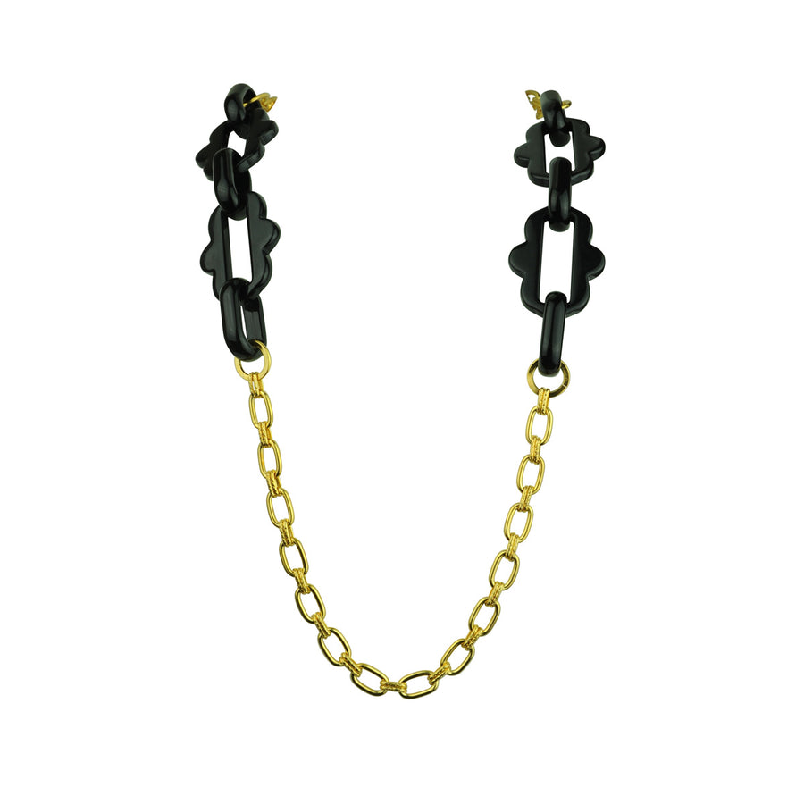 Chain frames with gold plated chain and black acrylic chain katerina psoma detail