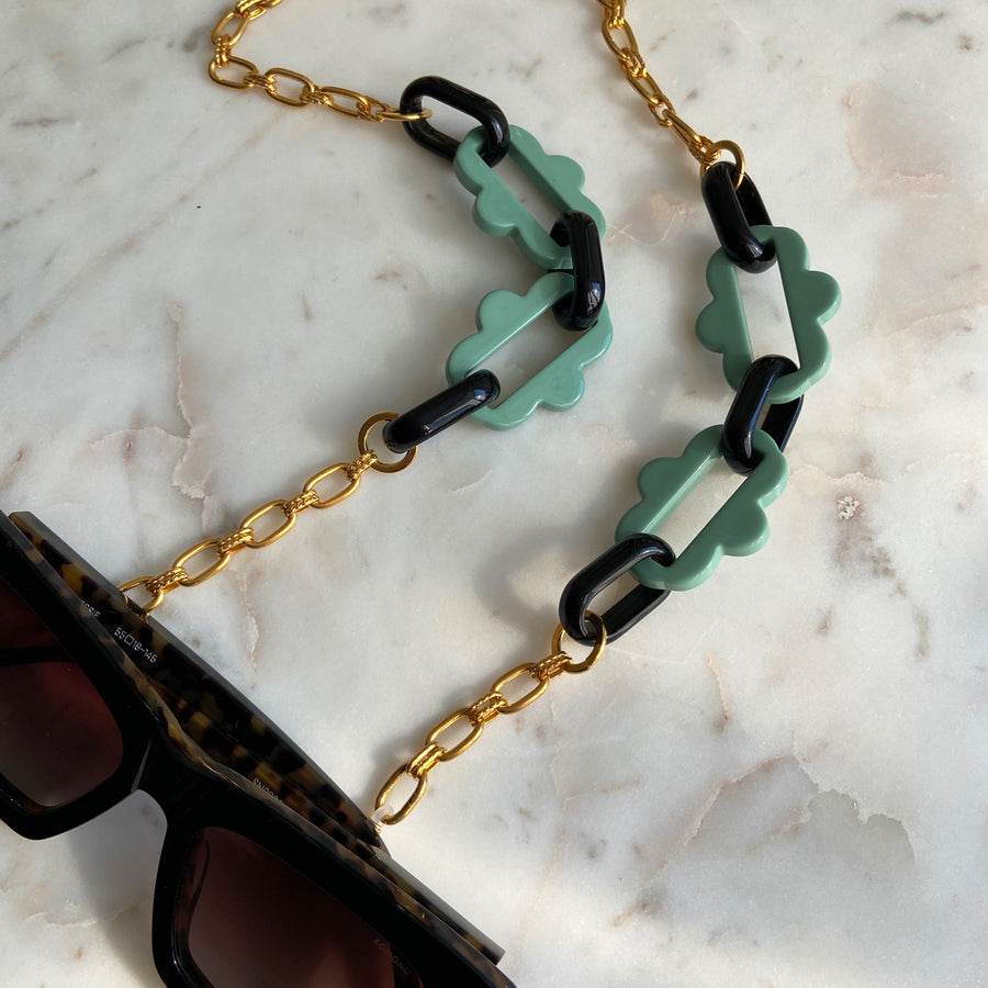Chain frames with gold plated chain and green acrylic chain katerina psoma instagram