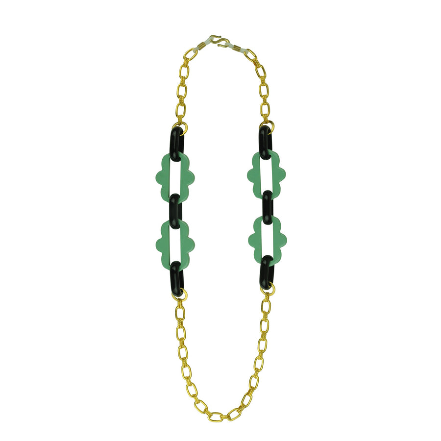 Chain frames with gold plated chain and green acrylic chain katerina psoma as necklace