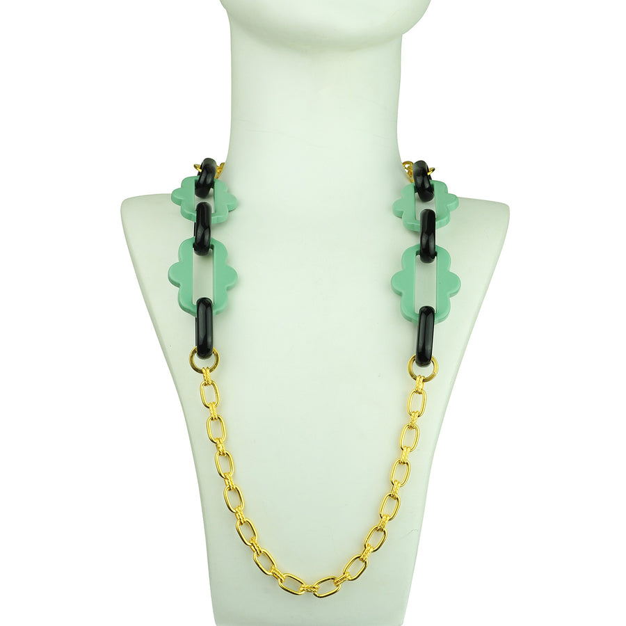 Chain frames with gold plated chain and green acrylic chain katerina psoma detail