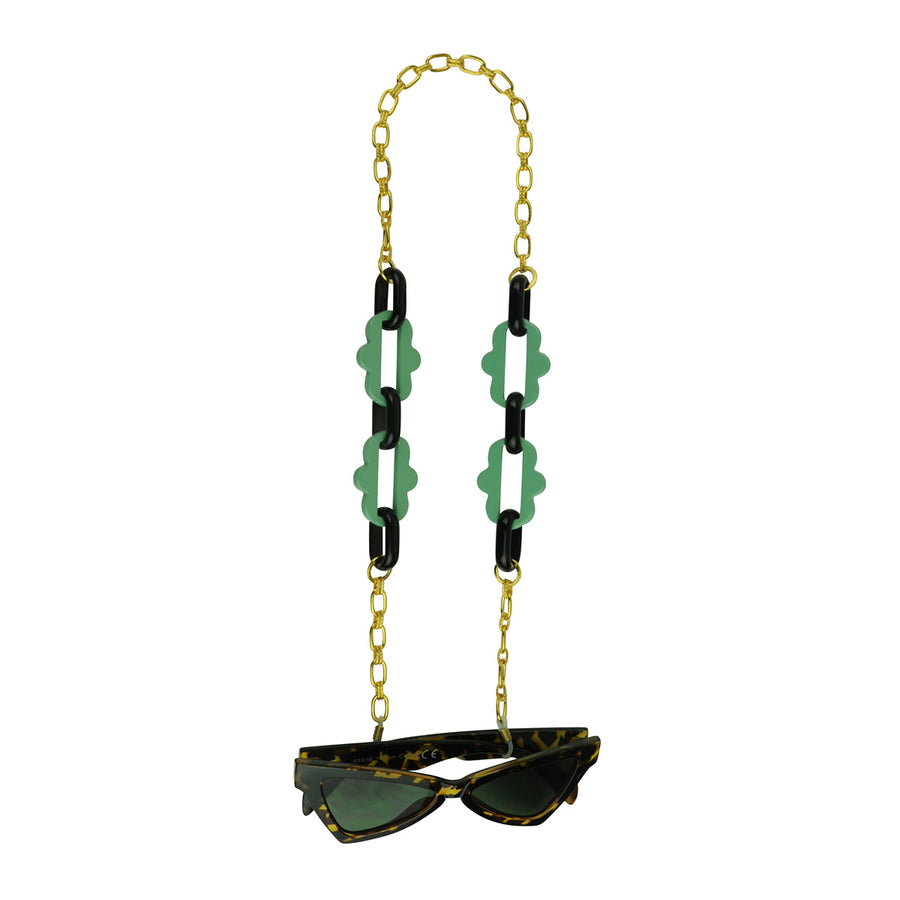 Chain frames with gold plated chain and green acrylic chain katerina psoma