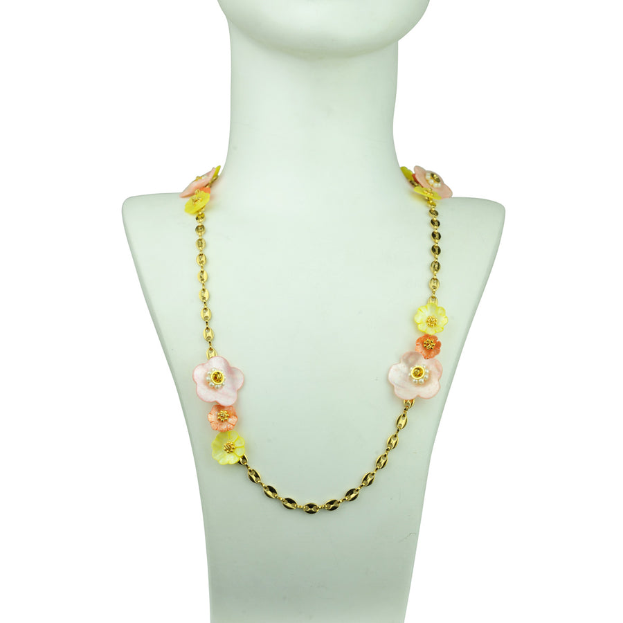 katerina psoma chain necklace with multicoloured mother of pearl