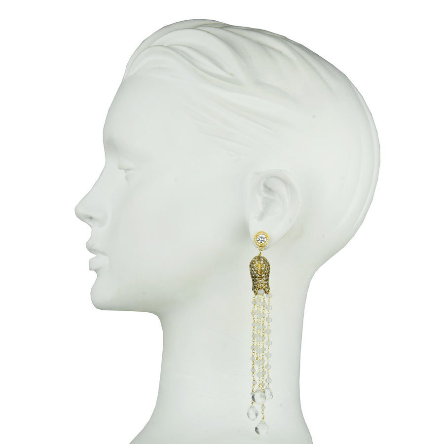 gold plated dangle tassel earrings with quartz drops