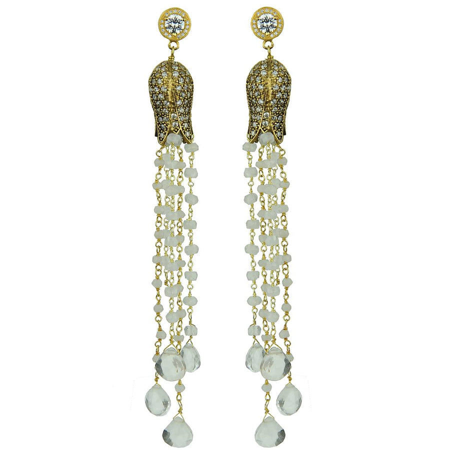 tassel earrings with crystals and quartz
