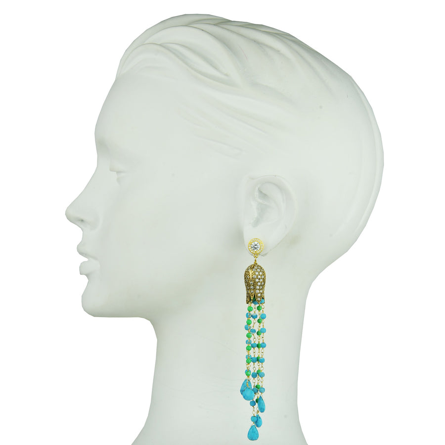 gold plated tassel earrings with turquoise and green stones