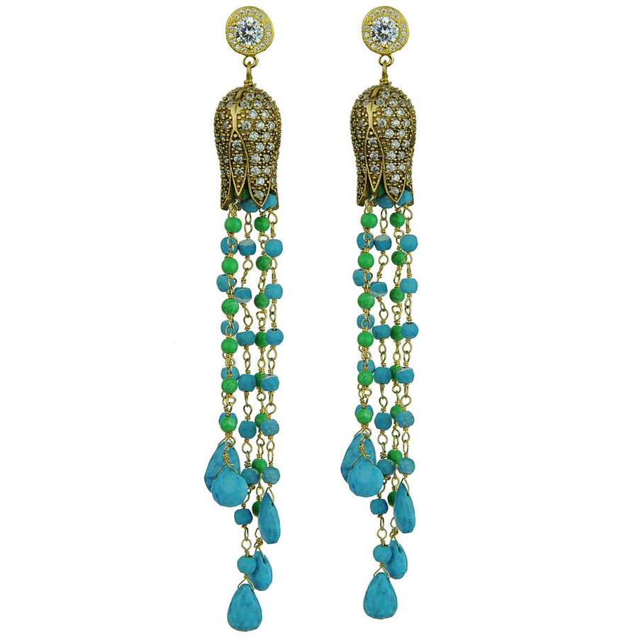 Tassel earrings with turquoise and chrysoprase drops