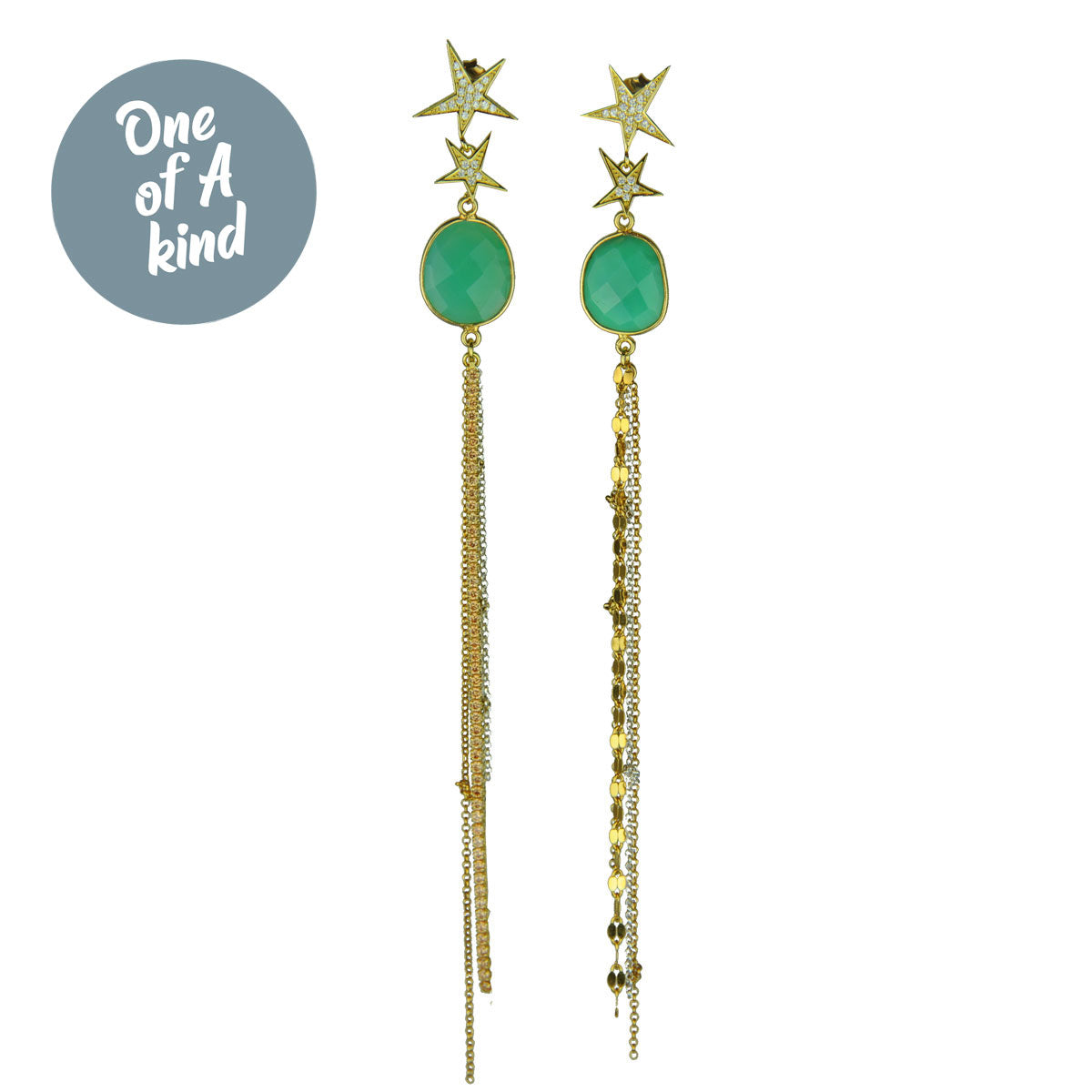 Dangle earrings with chains crystals and chrysoprase